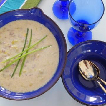 """Sopa de puerros, carne picada y queso de """"Omi Helga"""""""