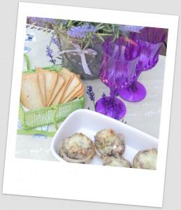 Champiñones rellenos de pavo y queso crema