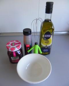 Ingredientes para la vinareta de fambruesa