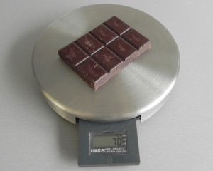Separamos dos hileras de chocolate