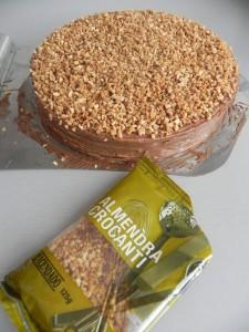 Esparcimos los trocitos de almendra crocanti sobre la superficie de la tarta