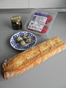 Ingredientes hamburguesitas con trufa y huevos de codorniz
