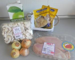 Ingredientes Escalopines de pollo con salsa de champiñones y manzana