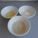 Pan rallado, huevo batido y harina