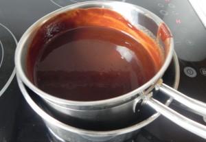 Chocolate fundido al baño María