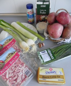 Ingredientes sopa cremosa de patata (con cebolleta y bacon)