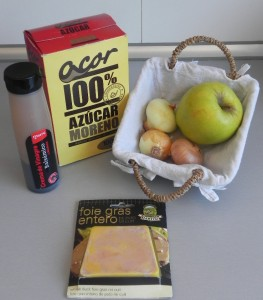 Ingredientes Tostas de manzana con foie y cebolla caramelizada