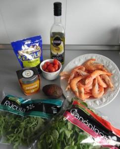 Ingredientes ensalada de langostinos con vinagreta de mango