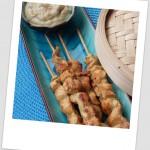 Satay de pollo con salsa de cacahuete