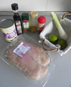 Ingredientes satay de pollo con salsa de cacahuetes