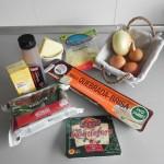 Ingredientes quiche de espinacas, roquefort y cebolla caramelizada