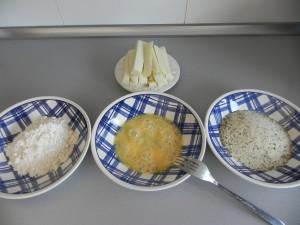 Preparamos todos los ingredientes del rebozado