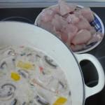 Añadimos el pollo a la sopa