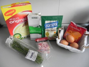 Ingredientes bolitas de patata con bacon, queso y cebollino