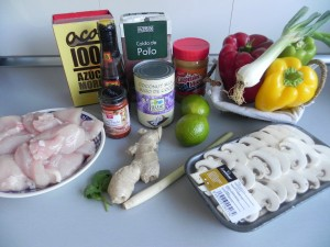 Ingredientes sopa tailandesa de pollo (Thai chicken red curry soup)