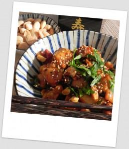 Pollo oreintal con almendras y soja