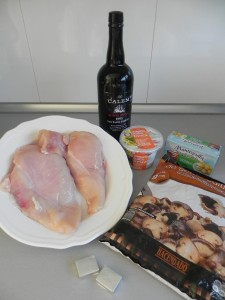 Ingredientes supremas de pollo con salsa de setas al Oporto