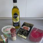 Ingredientes timbal de burrata y carpaccio con vinagreta de trufa blanca