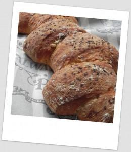 Espiga de pan de chapata con cebolla