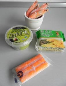 Ingredientes cestitas de wonton (con guacamole, cangrejo, langostinos, lima y cilantro)