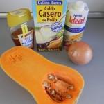 Ingredientes crema de calabaza y cebolla asadas