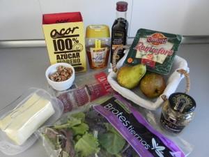 Ingredientes ensalada de pera caramelizada, roquefort, crujiente de panceta y nueces