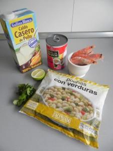 Ingredientes guiso thai de pochas con langostinos