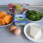 Ingredientes lasaña vegetariana con calabaza, espinacas y bechamel de ricotta
