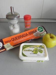 Ingredientes flores de masa quebrada (con manzana)