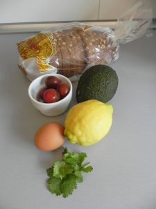Ingredientes Tosta de Aguacate