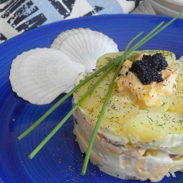 Timbal de salmón y patata