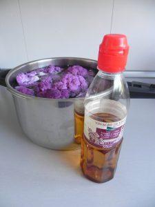 Y añadimos un buen chorro de vinagre para sacar cualquier insecto que pueda tener