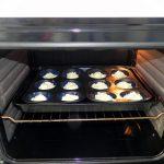 Metemos los moldes al horno durante 30 min aprox. a 180º
