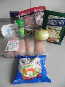 Ingredientes pechugas de pollo rellenas de queso crema, bacon y cebolla