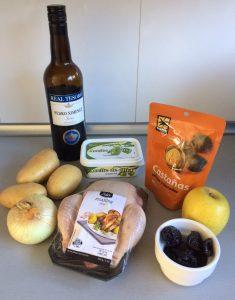 Ingredientes picantón relleno de frutos secos y manzana