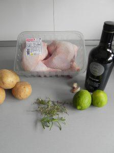 Ingredientes Pollo asado con lima, cebolla y patatas (al tomillo y romero)