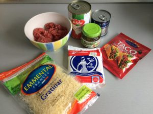 Ingredientes cestitas de taco (plato tex-mex)