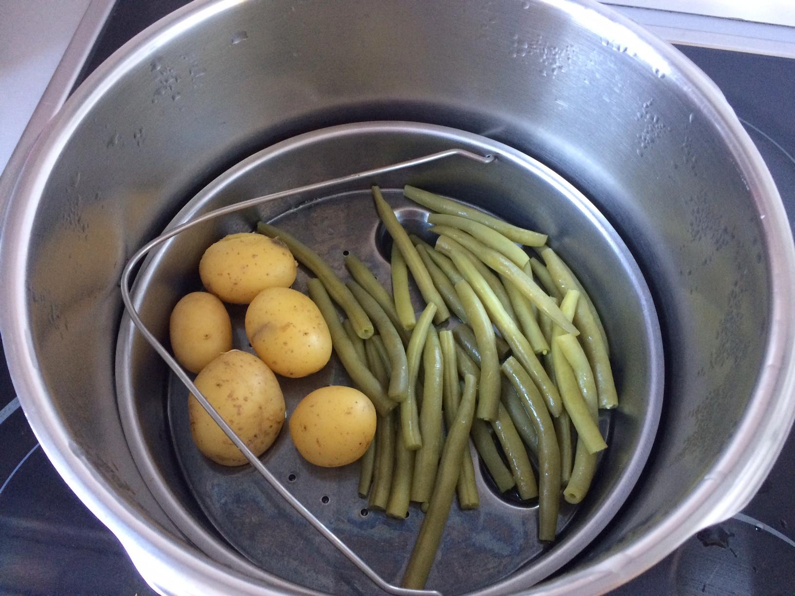 Judías verdes y patatas al vapor