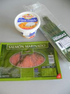 """Inredientes patas """"glam"""" con salmón y crema fresca"""