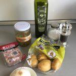Ingredientes ensalada templada y rápida de patatas al vapor (de microondas!)